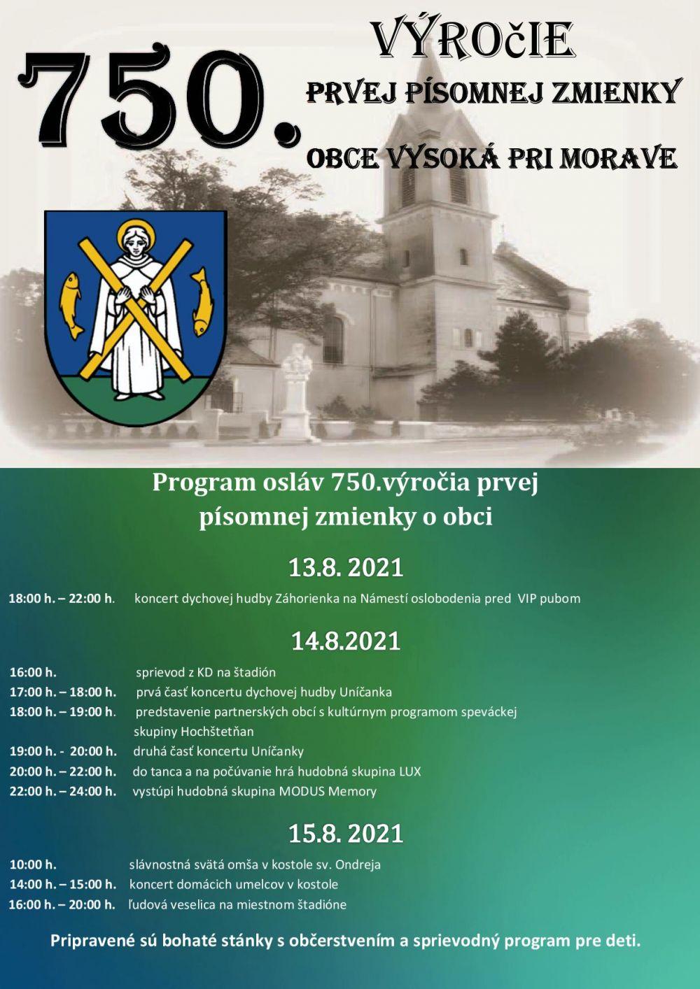 750. výročie prvej písomnej zmienky Obce Vysoká pri Morave